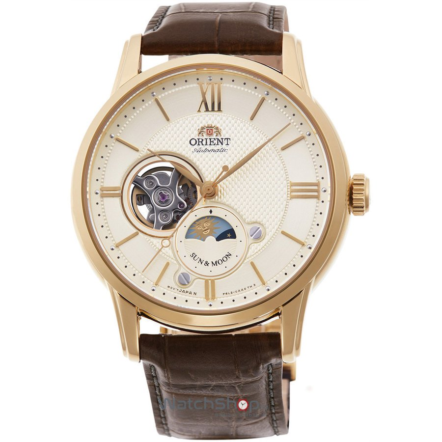 Ceas Orient Sun and Moon RA-AS0004S10B Open Heart Automatic original pentru barbati