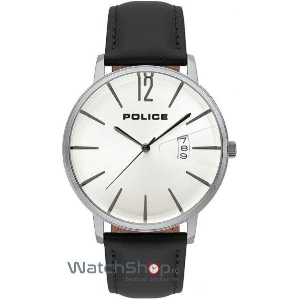 Ceas Police Virtue 15307JS/01 Black Leather & Silver Stainless Steel original pentru barbati