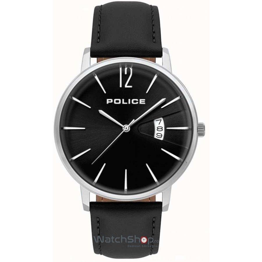 Ceas Police Virtue 15307JS/02 Black Leather & Silver Stainless Steel original pentru barbati