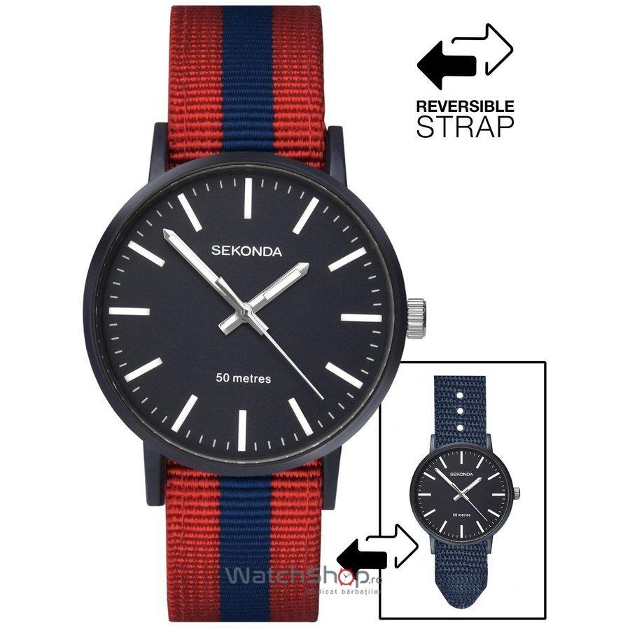 Ceas Sekonda Men's Red & Blue Reversible Nylon Strap 1582 de mana pentru barbati