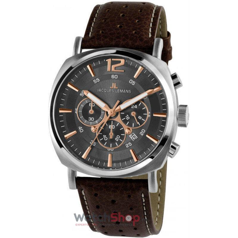 Ceas JacquesLemans LUGANO 1-1645H Cronograf original barbatesc